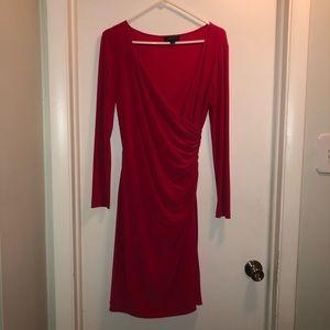 Red wrap Tahari dress 8